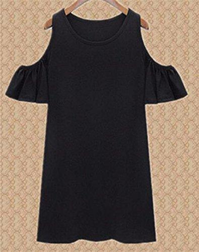 QIYUN.Z Vestido De Manga Corta Vestidos De Las Mujeres De Desplazamiento Frio Hombro Del Falbala Volante Verano Negro