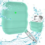 FONY Apple Airpods Case Cover Accessories Kits for AirPods 2 & 1 Charging Case - Waterproof Shock Resistant Protective Silicone Cover Skin with Carabiner (Mint Green)