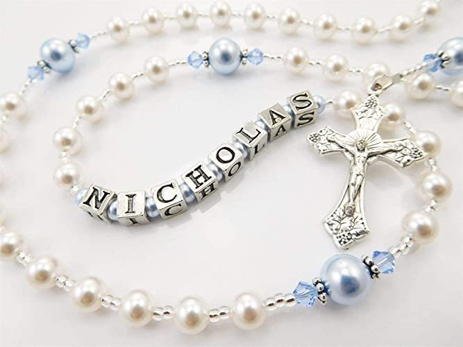 Amazon.com: Rosary Beads in White and Blue Swarovski Pearls - Catholic Baptism Gift for a Baby Boy: Handmade