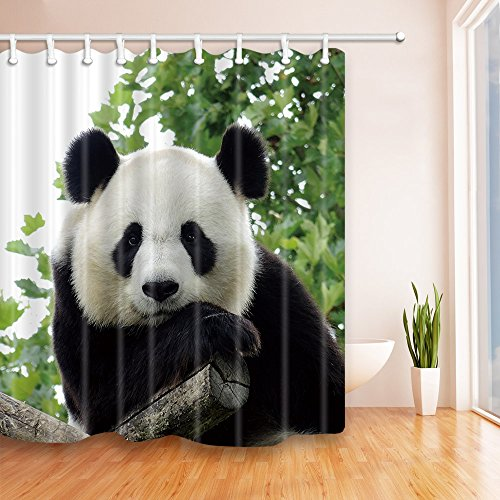 ... NYMB Lovely Panda Green Leaves 69X70 Inches Mildew Resistant Polyester  Fabric Shower Curtain Set Fantastic Decorations