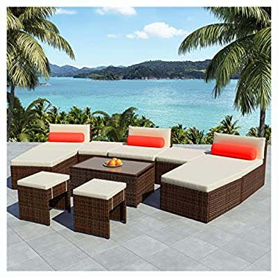 K&A Company Outdoor Furniture Set, 10 Piece Garden Lounge Set with Cushions Poly Rattan Brown