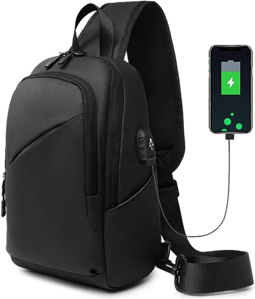 Sling Backpack for Men Crossbody Shoulder Bag with USB Casual Daypack Waterproof Black
