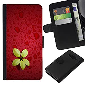 KLONGSHOP // Tirón de la caja Cartera de cuero con ranuras para tarjetas - cvetok zheltyy Krasnyy fon - Samsung Galaxy Core Prime //