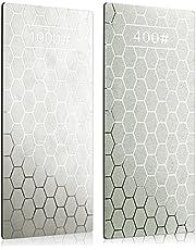 2 stycken Diamantslipsten, Kalolary Knife Sharpener Stone Whetstone Honeycomb Surface Diamond Sharpener Plate with Not-slip Pad for Pocket Knives Sax, Outdoor Kitchen Tools (400/1000 Grit)