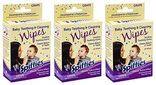 Spiffies Toothwipes, Grape Wipes, 20-Count ( Pack of 3) ( Pack May Vary )