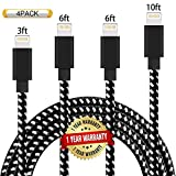 Ulimag Lightning Cable 4Pack 3FT 6FT 6FT 10FT Nylon Braided Certified iPhone Cable USB Cord Charging Charger for iPhone X - 8 - 8 Plus - 7 - 7 Plus - 6s - 6s Plus - 6 - 6 Plus - SE - iPad (Black White)
