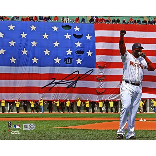 David Ortiz Boston Red Sox FAN Autographed Signed 8x10 Boston Strong Speech Photograph - Certified Signature