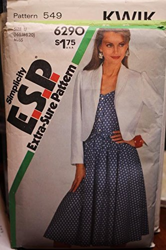 Jacket Sash - Simplicity Pattern 6290 Sz 16,18,20 Misses' Fitted Dress,Unlined Jacket And Sash