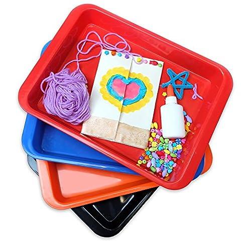 Doodle Hog Crafts Arts and Crafts Multi Purpose Medium Organizer Tray Set, Medium (Pack of 4) (Cafeteria Trays)