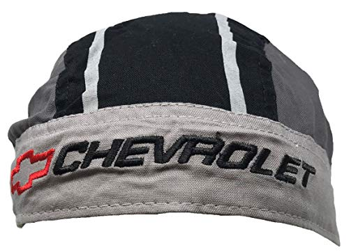 Officially Licensed Embroidered Chevrolet Chevy Grey Head Wrap Doo Rag Skull Cap GM