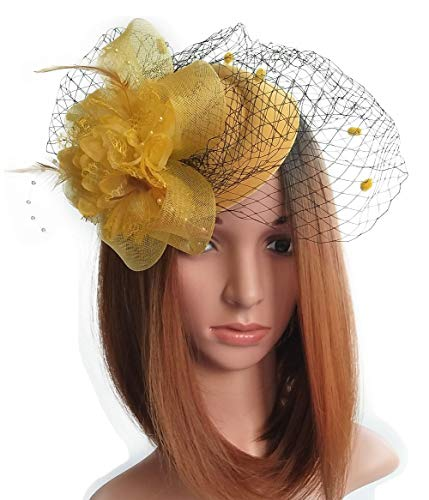 Coolwife Fascinator Hats Pillbox Hat British Bowler Hat Flower Veil Wedding Hat Tea Party Hat (Gold)