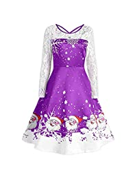 UNBRUVO Dress for Women Lace Long Sleeve Christmas Party Swing Dresses
