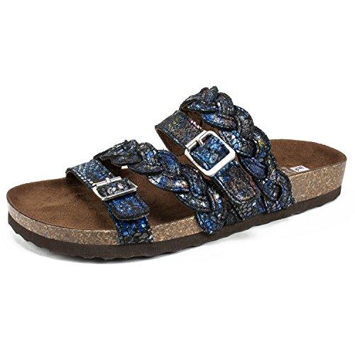 (WHITE MOUNTAIN Shoes Holland Women's Sandal, BLK&Blue/Exotic Sparkle Suede, 6 M)