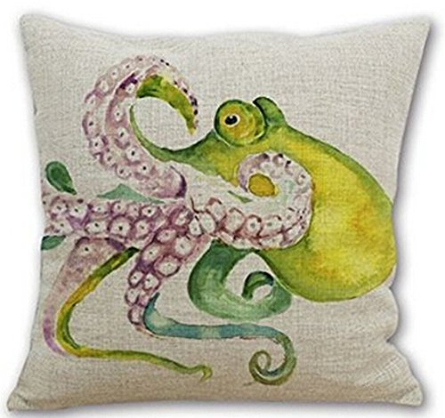Designer Cushion Cover (Cotton Linen Square Decorative Throw Pillow Case Cushion Cover Watercolor Octopus 18