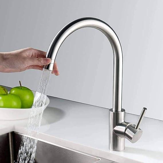 LONHEO Grifo de resorte de cocina con dos modos de salida de agua y juego fijo o de lavado de 360 /° para fregadero de cocina