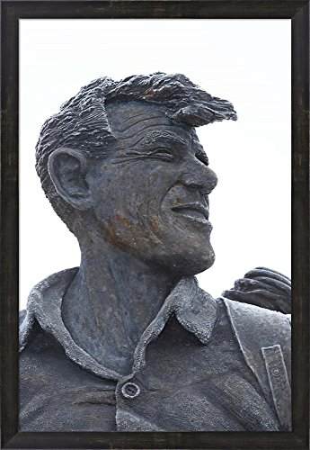 Sir Edmund Hillary Statue, South Island, New Zealand by David Wall / Danita Delimont Framed Art Print Wall Picture, Espresso Brown Frame, 21 x 30 inches (Hillary Walnut)