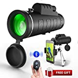 40x60 Monocular Telescopes, High Powered Prism Scope with Quick Phone Mount Adapter and Tripod,Waterproof Fogproof Optics FMC BAK4 Prisms, Low Night Vision Focus for Outdoor Like Bird Watching