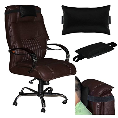 Acm Leather Cushion Pillow Head & Neck Rest Compatible with Computer Chair Black