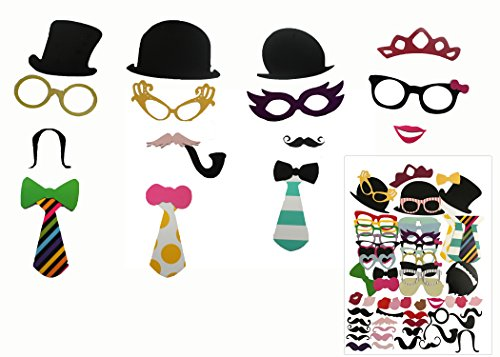 58pcs Photo Booth Props Creative Fun Party Favor Set for Wedding Birthday Reunions Dressup Costumes with Mustache on a Stick, Pipes, Hats, Glasses, Lips, Bowties.]()