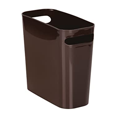 mDesign Slim Plastic Rectangular Small Trash Can Wastebasket, Garbage Container Bin with Handles for Bathroom, Kitchen, Home Office, Dorm, Kids Room - 10  high, Shatter-Resistant - Dark Brown