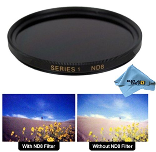 72mm ND8 Multi-Coated Neutral Density Filter for Panasonic 14-150mm f/3.5-5.6 Vario-Elmarit Aspherical MEGA O.I.S. + Grace Photo Microfiber Cleaning Cloth