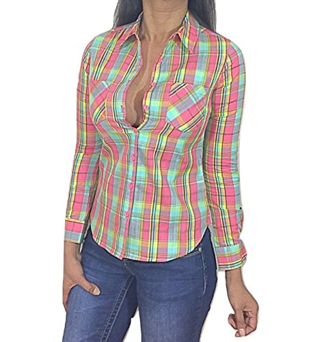 CaliBabes Plaid Button Down Country Chic Long Sleeve Top (Small, Mint)