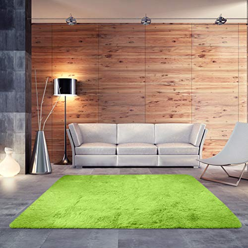 BlueSnail Super Ultra Soft Modern Shag Area Rugs, Bedroom Livingroom Sittingroom Floor Rug Carpet Blanket for Children Play Home Decorate (4' x 5.3', Rectangle, Apple Green)
