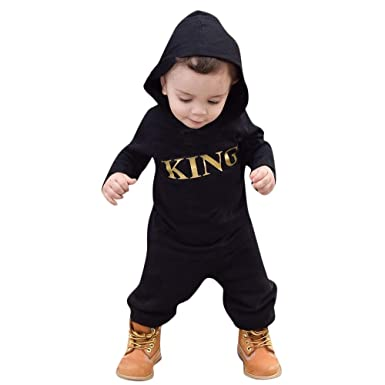 ade1ed8377a6 Amazon.com  Infant Baby Boy Hooded Letter King Romper Jumpsuit Playsuit  Outfits  Clothing