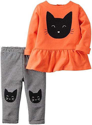 Carter's Baby Girls 2 Pc Sets, Orange, New Born (Girls Halloween Shirts)