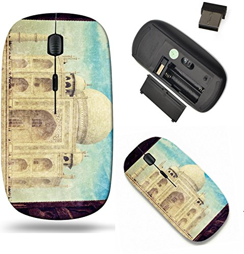 Liili Wireless Mouse Travel 2.4G Wireless Mice with USB Receiver, Click with 1000 DPI for notebook, pc, laptop, computer, mac book Vintage retro hipster style travel image of Taj Mahal IMAGE ID 283456