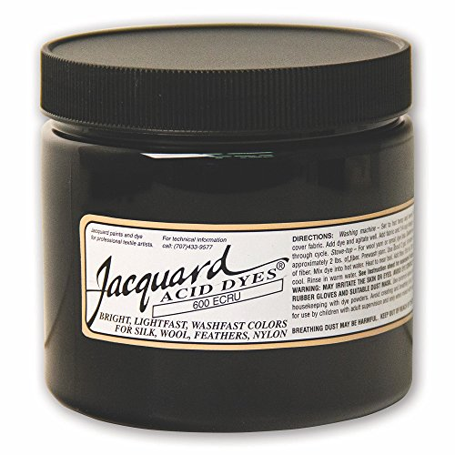 Jacquard Acid Dye for Wool, Silk and Other Protein Fibers, 8 Ounce Jar, Concentrated Powder, Ecru 600