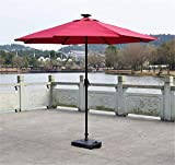 AIMCAE Outdoor Patio Umbrella with Led Lights and Solar Panels Weatherproof 2.7 M,Red