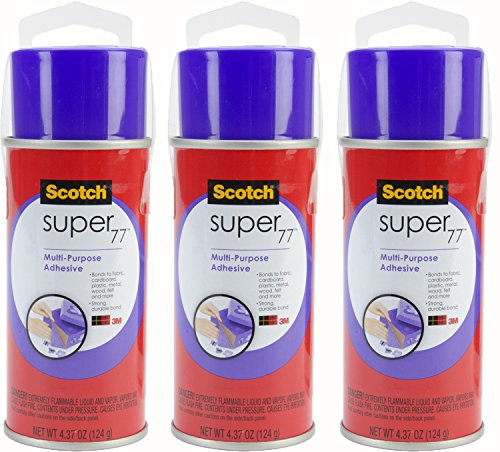 3M Super 77 Multi-Purpose Adhesive, 4.37-Ounce, (Pack of 3) (Post Headliner)