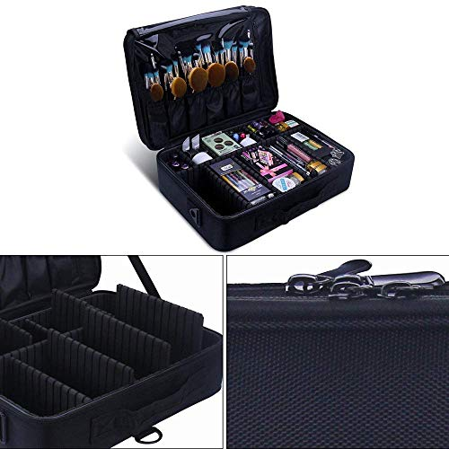 Other Professional Storage Partition Cosmetic Box Three Waterproof Layer Travel Makeup Bag-Black        Amazon imported products in Multan
