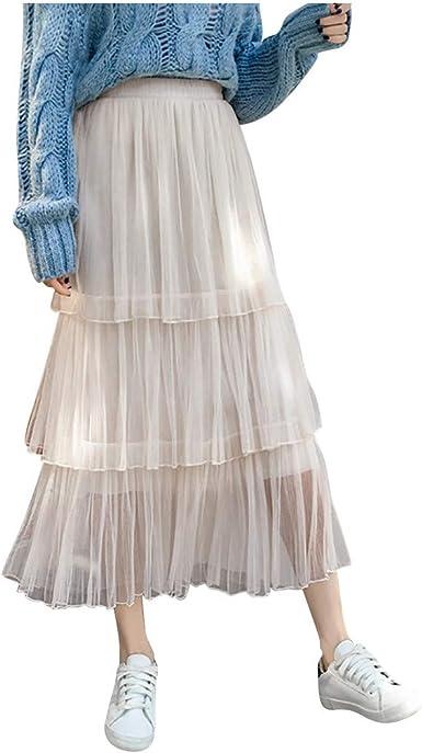 TUDUZ Falda De Tul Sólido Color para Mujer Falda De Pliegue En ...