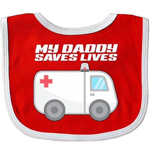 Inktastic - My Daddy Saves Lives- Ambulance Baby Bib Red/White 301f6