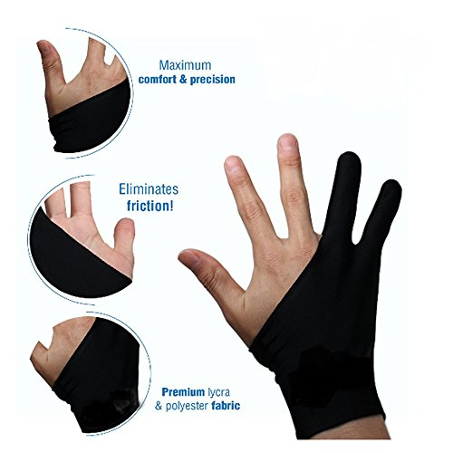 Artist's Drawing Anti-Fouling Glove with Two Fingers for Graphics Tablets (L)