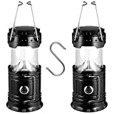 Solar Camping Lantern 2 Pack Solar Powered Flashlights LED Battery Lanterns with S Hook - Survival Kit for Power Outage Hurricane Emergency(Black)