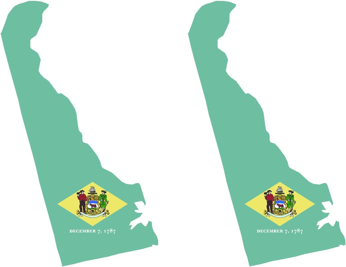 fagraphix Two Pack Delaware State Shaped Flag Sticker Self Adhesive Vinyl Decal DE