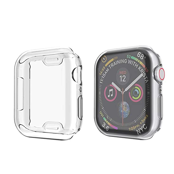 save off f3c52 7df86 amBand Compatible for Apple Watch Series 4 Screen Protector 40mm, Full  Cover TPU Case Bumper Compatible for iWatch Series 4 Clear