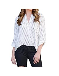 kingfansion Women Loose Button Trim Blouse Polka Dot Top Long Sleeve Tunic T-Shirt