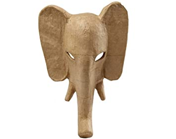 Elefante con colmillos máscara de papel maché para decorar | formas de papel maché