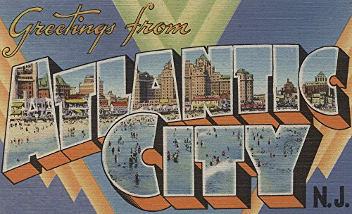 Greetings from Atlantic City, New Jersey (Boardwalk) (9x12 Art Print, Wall Decor Travel Poster) ()
