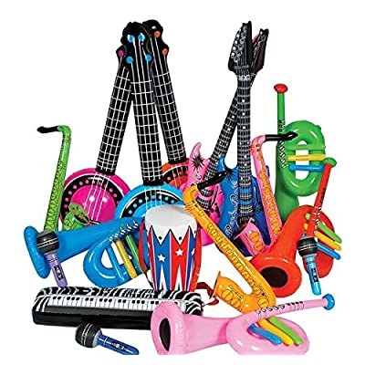 Rhode Island Novelty Rock Band Inflate Instrument Kit 24 Pieces: Toys & Games