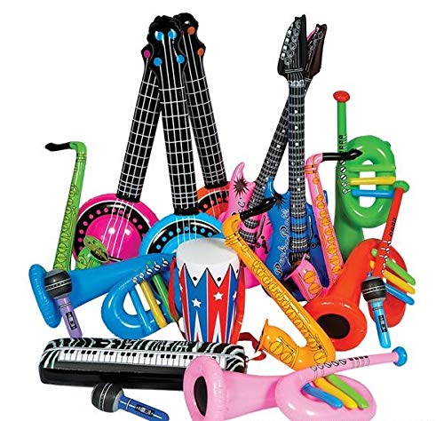 Rhode Island Novelty Rock Band Inflate Instrument Kit | 24 Pieces