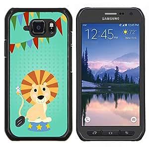 Caucho caso de Shell duro de la cubierta de accesorios de protección BY RAYDREAMMM - Samsung Galaxy S6Active Active G890A - DIVERTIDO DEL LEÓN DE LA HISTORIETA PARTY