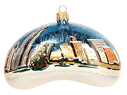 pinnacle peak trading company chicago bean winter scene polish glass christmas ornament tree decoration