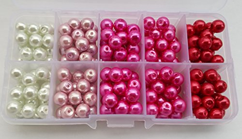 200+pcs 8mm Luster Glass Pearl Round Beads with Case / Jewelry Making Beads (Pink Shades (2))