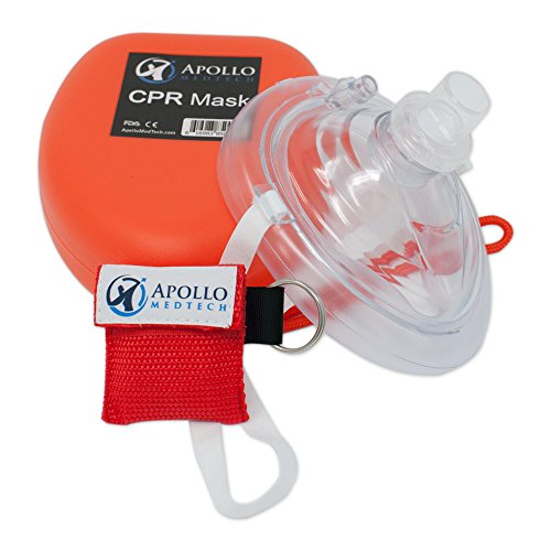 Mask Ventilation Bag Valve - CPR Mask (with Bonus keychain CPR Mask) - First Aid Face Shield with One-Way Breath Valve - Apollo MedTech Brand