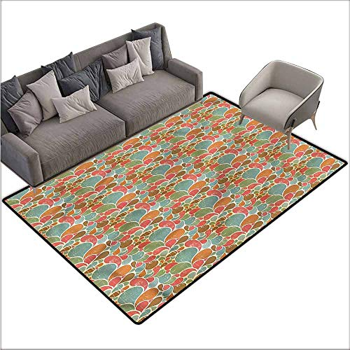 """Anti-Slip Coffee Table Floor Mats Retro,Abstract Floral Motif Grunge 80""""x 96"""",Silky Smooth Bedroom Mats"""